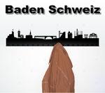 Objekte der Skyline (v.l.n.r.):  Schloss Stein, Stadtturm, Stadtkirche, Hochbrücke, Rostbalken-Lift, Landvogteischloss, Abb-Baden, Stadtwappen, Grand Casino