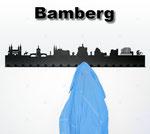 Objekte der Skyline (v.l.n.r.):   Dom, Domreiter, Rathaus mit Brücke, Eta, Hoffmann, Kloster, Michelsberg, Bierkrug, Altenburg, Gabelmann, Klein Venedig, Sinfonie an der Regnitz, Basketball