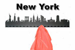 Objekte der Skyline (v.l.n.r.):  Freiheitsstatue, Empire State Building, Flatiron Building, Brooklin Bridge, Chrysler Building, Bank of Ameria Tower, UN Building, City Hall, Lipstick Building, Grand Central Terminal