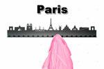 Objekte der Skyline (v.l.n.r.):  Arc de Triomphe, Louvre Pyramide, Musée du Louvre, Notre Dame, Pont Neuf, Tour Eiffel, Moulin Rouge, Basilique du Sacré-Coeur, Panthéon, Centre Pompidou, La Défense