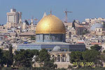 The octagonal structure of the Dome of the Rock has a gilded aluminium dome.