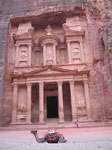 The facade of the Treasury, or el-Kasneh,perhaps Petra's most famous monument,  is 27 m wide and 40 m tall.
