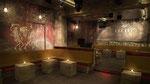 Création et réalisation d'un décor de patine ,d'ornements,vanités et fausse publicité ,murs plafond sol , meubles dans une boite de nuit Paris 8.