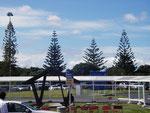 Auckland Airport - Sonniges Wetter begrüßt mich.