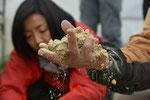 米ぬかぼかしの水分の具合など。