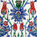 Orientalische Fayencen, keramische Wandfliese // Dekor: Cyrine Rouge 20x20 cm