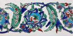 Orientalische Fayencen, keramische Wandfliese // Dekor: Khayam bleu F 10x20 cm