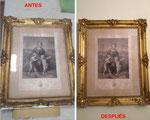 Restauración de marco dorado con grabado de principios del siglo XIX.