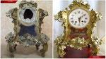 Restauración reloj de sobremesa S.XVIII. Madera tallada y sobredorada.