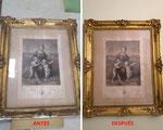 Restauración de grabado con marco dorado de principios del siglo XIX.