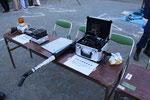高津警察署はがれきの中をカメラと音声で調査する最新機械を披露。
