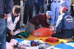 日赤さんによる救急訓練。人工呼吸やAED体験など。