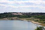 Blick vom Aussichtsturm Stöbnitz nach Mücheln - Juli 2010