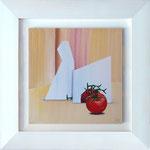 Tomate im Spiegel; 74 x 74 cm; Acrylmalerei auf Keilrahmen im weißlasierten Holzrahmen