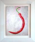Chili; 74 x 94 cm; Acrylmalerei auf Papier im weißlasierten Holzrahmen
