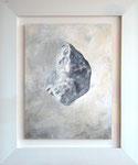 Monolith; 74 x 94 cm; Acrylmalerei auf Papier im weißlasierten Holzrahmen