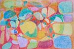 Titel: Zellstrukturen, energetisch, Wachsmalkreide auf Papier