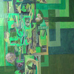 Titel: Lebensbaum, Collagetechnik und Acryl auf Holzplatte (Holz leicht gewellt und verzogen)