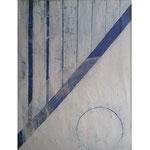 Titel: Mondrhytmus, Tempera auf Papier/gerahmt 70cm/1m