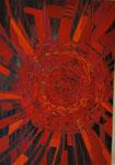 Titel: Sprühende Lebendigkeit, Acryl (Glanz) und Tempera (matt) auf Papier, gerahmt, 70cm/1m
