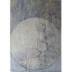 Titel: Schnee von gestern, aufgeklebte Elemente, Tempera auf Papier, gerahmt 70cm/1m