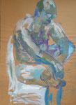 schräg seitlich sitzender Männerakt, Zeichnung mit Farbe auf Packpapier