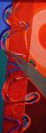 Titel: Blutfluß, Tempera auf Leinwand auf Pappe, 28cm/77,5, gerahmt: 39,5cm/89cm