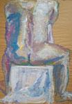 sitzender Männerakt, Zeichnung mit Farbe auf Packpapier