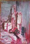 Titel: Stilleben gespachtelt, Tempera auf Papier, 70cm/1m