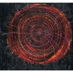 Zeichnungen einer phänomenologischen Arbeit mit Blut. Titel: Zeichnung Blutmuschel Wachsmalkreide auf Papier 21cm/21cm
