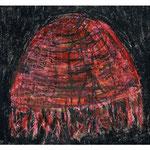 Titel: Zeichnung Blutqualle Wachsmalkreide auf Papier 20cm/24cm