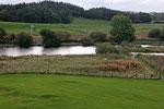 Blick von Threave Castle aus auf die Anlegestelle am Fluss Dee.