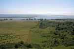 Aussicht vom Leuchtturm aus auf Grieben und das dahinter liegende Naturschutzgebiet.