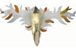 Wandleuchte aus gefustem und bemaltem Glas mit 2 weiten Flügeln und Messingschuh