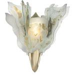 Wandleuchte aus gefustem und bemaltem Glas mit 2 Flügeln und Messingschuh
