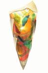 Halbrunde Wandleuchte aus gefusten, bunten Scherbenauflagen aus Glas mit Messingschuh
