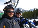 Mein Skilehrer und ich in der Skigondel
