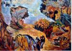 """Vincent TERRASSE       """"Betes et bois""""        huile/toile 100x81 cm"""