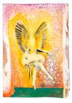 Tanzengel. Acryl, Tinte auf Holz. 41 x29cm. 2015