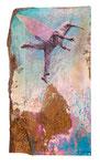Herr Kolibri tanzt. Acryl, Tinte auf Holz. 34 x20cm. 2015