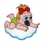 Geburtstafel Mädchen auf Wolke