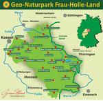 Übersichtskarte der Premiumwanderwege. Die Karte wurde freundlichst vom Geo-Naturpark Frau-Holle-Land zur Verfügung gestellt.