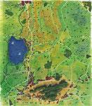 "Illustration (Aquarell/Buntstift) Übersichtskarte ""Dümmer-Seegang"""