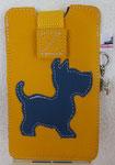 Leder: gelb Motiv: Hund (dunkelblau)