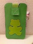 Leder: apfelgrün Motiv: Frosch (Limette)
