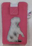 Leder: pink Motiv: englische Bulldogge (Kuhfell)