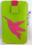 Leder: lime Motiv: Kolibri (pink)