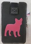 Leder: grau Motiv: Französische Bulldogge (pink)