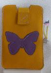 Leder: gelb Motiv: Schmetterling (lila)