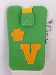 Leder: grün Motiv: Buchstabe & Pfote (gelb)